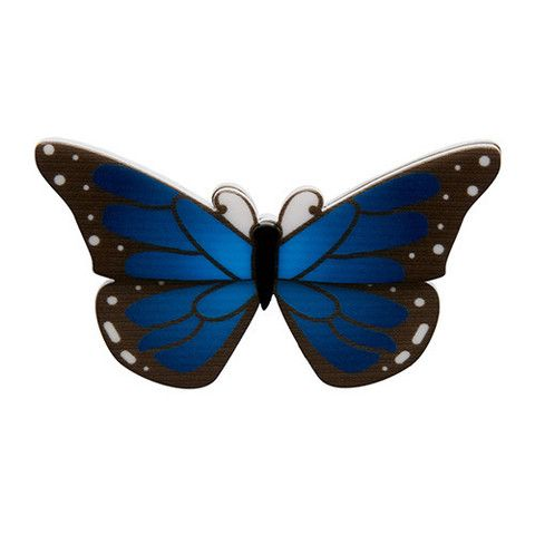 """Erstwilder Limited Edition Ulysses Brooch. """"Rather recognisable with mu magnificent blue wings. I can blend in when need be. It all depends on where my journey takes me."""""""