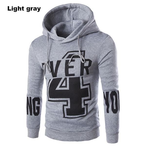 Men's Casual Slim Fit Print Design Long-sleeved Hooded Sportswear Sweatshirt Coat - 3 Colors-Men's Tops-Wickydeez