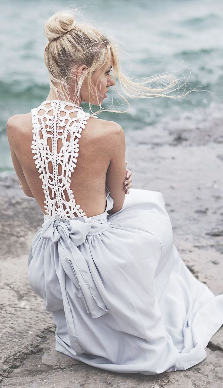 Open Back Crochet Detail Maxi Dress