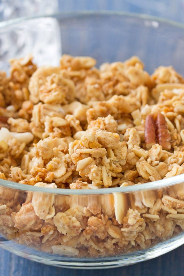 Homemade Honey Nut Granola Recipe with Rolled Oats, Almonds, Pecans, Sunflower Seeds, Vanilla Extract, and Ground Cinnamon - Gluten Free - Ready in 30 Minutes