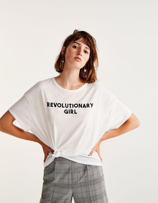 Pull&Bear - woman - clothing - t-shirts - t-shirt with slogan - white - 09234388-I2017