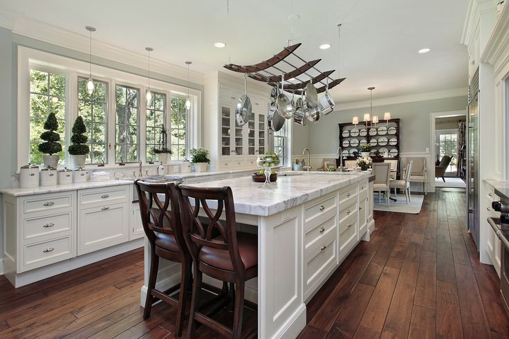 Antique White Kitchen Cabinets With Dark Wood Floors Delightful