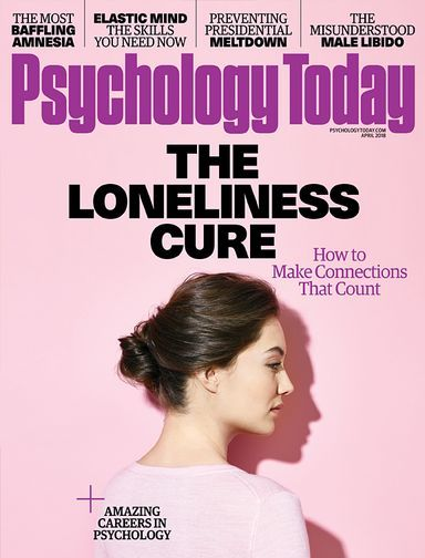 """Psychology Today Magazine March 2018. """"being rejected or socially excluded hurts like an actual wound."""""""