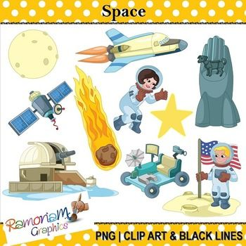 This set contains the typical elements associated with space. Each image is PNG and 300dpi in Black & White, colored with colored outlines and colored with black outlines