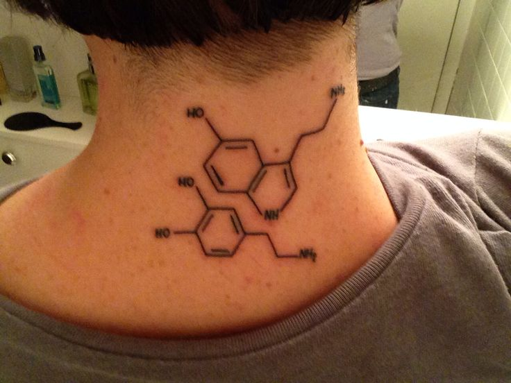 dopamine molecule tattoo -  For Frank and myself.