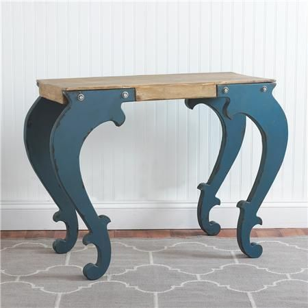 Blue Scroll Legs Wood Top Console Table $375  Great industrial, modern or vintage look!