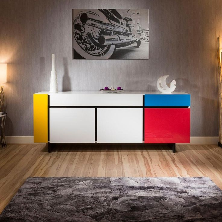 Luxury Piet Mondrian Inspired Sideboard Cabinet White Multicoloured Yv Dining Room