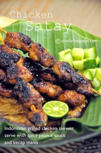 Chicken Satay  Indonesian famous street food with spicy peanut sauce, kecap manis sauce and a hint of kaffir lime juice.