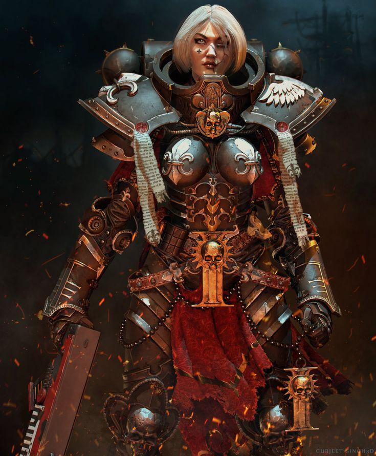 Sister of battle ( warhammer 40k ) fan art , Gurjeet singh on ArtStation at https://www.artstation.com/artwork/sister-of-battle-warhammer-40k-fan-art