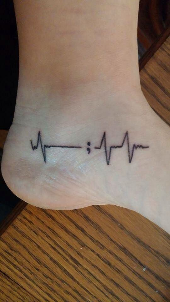 Love this heartbeat semicolon tattoo idea                                                                                                                                                      More