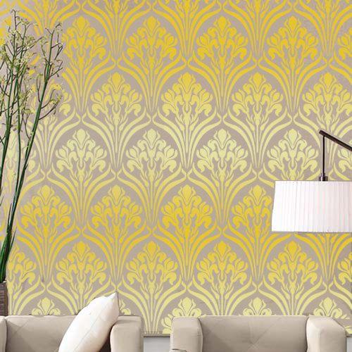 Wall Stencil Water Lily Art Deco Lattice Trellis Pattern