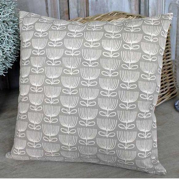 Flower Print Taupe Cushion - £22.00 - Hicks and Hicks