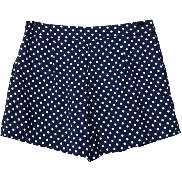 Choies Blue Polka Dot Shorts ($11) ❤ liked on Polyvore