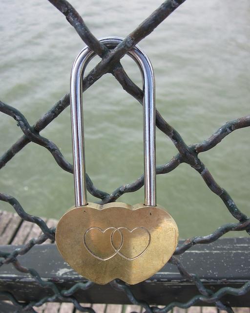 Double heart padlock with long hasp. Pont des Artes - Paris #love #lock #padlock #bridge #Paris #Pont des Artes