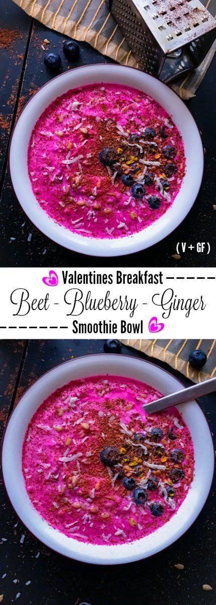 Beet Blueberry Ginger Smoothie Bowl - Valentines Breakfast: beet blueberry smoothie vegan glutenfree breakfast