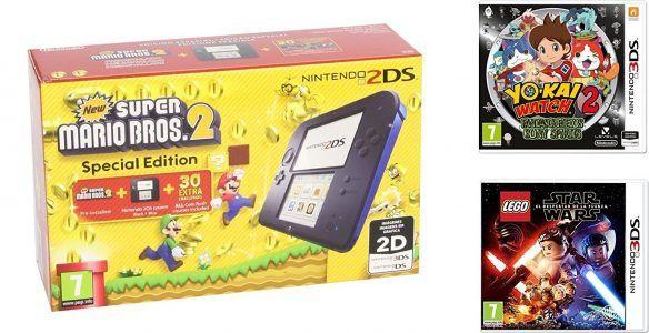 Nintendo 2DS pack de 3 juegos por 114,90 € siendo PrimeJuego New   Super Mario Bros 2 preinstalado.Incluye cargador compatible con consolas Nintendo 2DS, 3DS y New 3DS XL  #chollos #consolas #ofertas #videojuegos