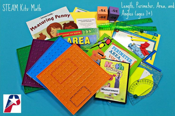 MEASUREMENT - LENGTH, PERIMETER, AREA, AND ANGLES: This kit comes with two kits in one! The Angles Measurement Center comes with 10 activities, protractors, angle markers, angle circles, and other manipulatives to help you learn about and create angles. The Length, Perimeter, and Area Measurement Center comes with 10 activities, geoboards, measuring tape, rulers, and more! Learn more about measurement with the accompanying books and DVD. (STEAM Kits: Math)