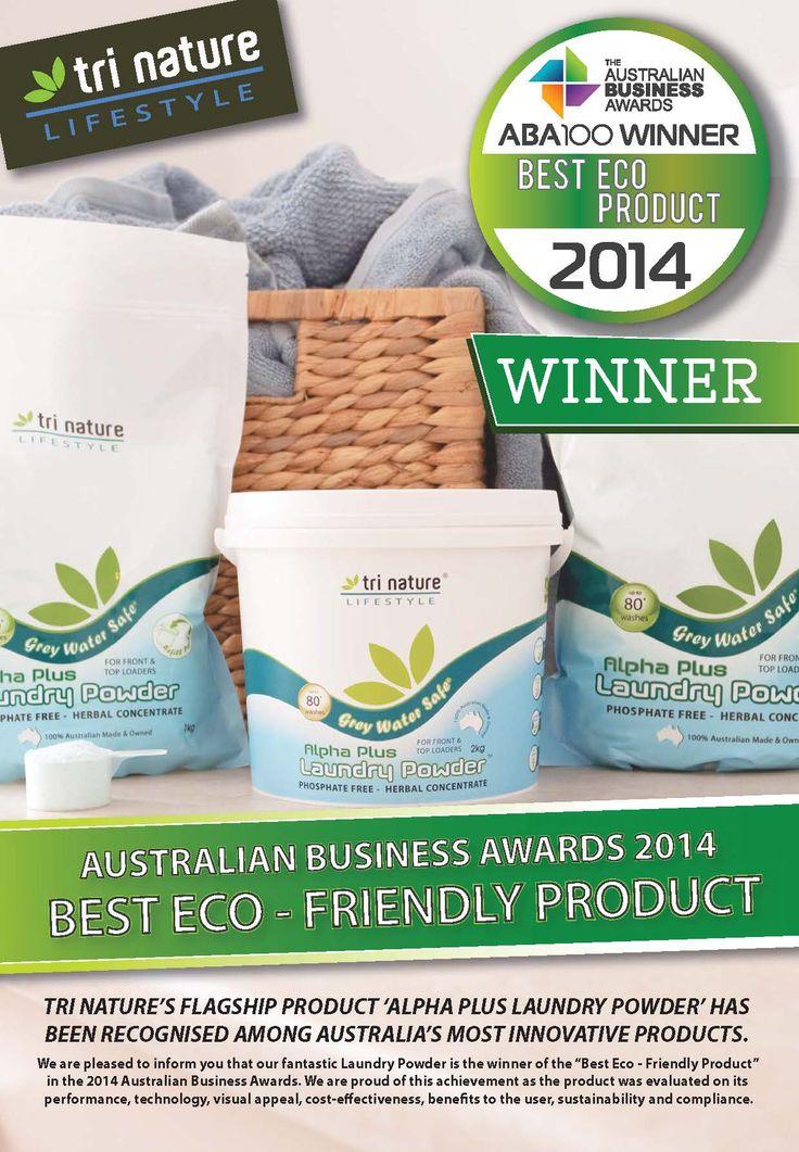 Winner 'Best Eco Product' 2014 - Tri Nature's Alpha Plus Laundry Powder.