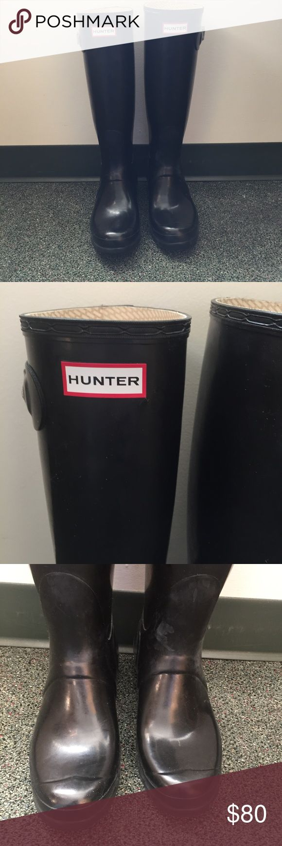 Black Glossy Hunter Rain Boots Hunter rain boots. Glossy black. Could use a cleaning, but other than that in great condition! Feel free to ask any additional questions.   💕 please make offers through offer button 💰 bundle for a 20% off discount  🚬🐶 smoke & pet free home  🚫 sorry no trades Hunter Boots Shoes Winter & Rain Boots