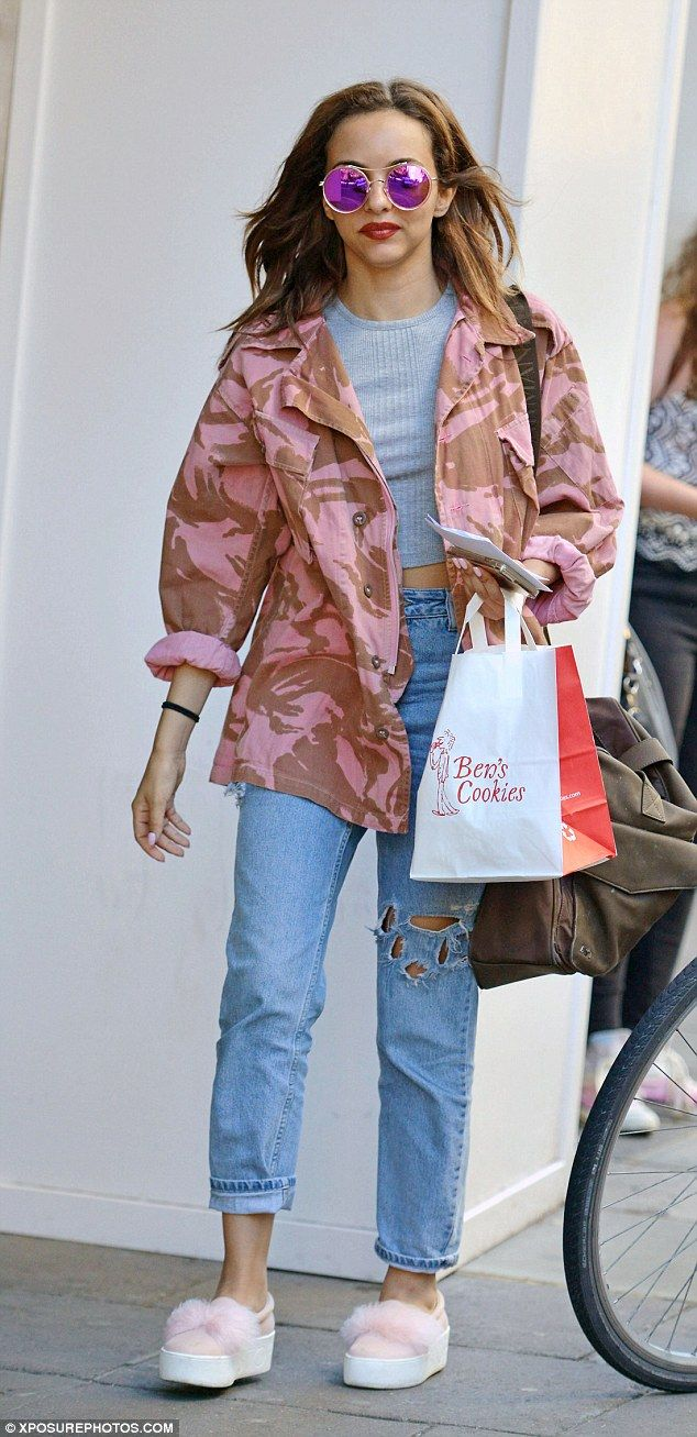 Pretty in pink: Jade Thirlwell went for a cutesy pop princess look…