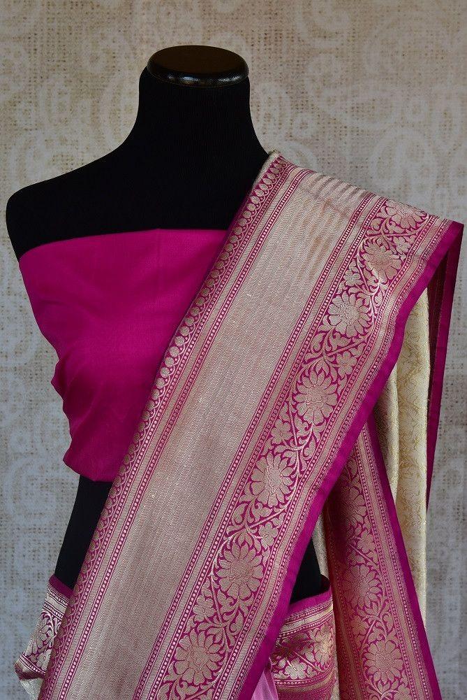 90A897 Full Self Weave Majenta and White Banarasi Saree From India 4