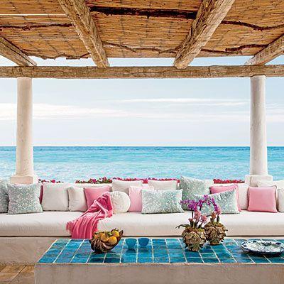 True Romance, pink and aqua patio from Coastal Living Magazine.