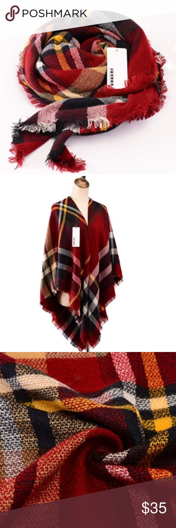 """Oversized burgundy  tartan plaid blanket scarf Gorgeously bright colors, super soft acrylic material, warm and cozy. Perfect look for fall and winter. Measures 55"""" x 55"""". 100% Acrylic fibers make this scarf unique, high quality, soft and super warm an coz"""