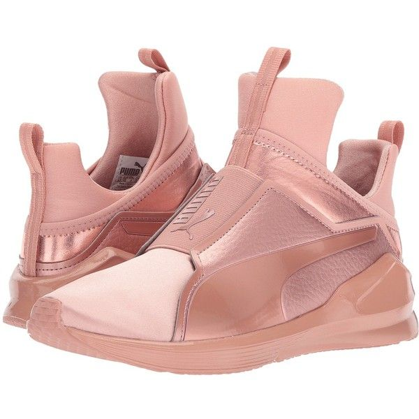 PUMA Fierce Copper VR (Copper Rose) Women's Shoes ($110) ❤ liked on Polyvore featuring shoes, athletic shoes, round cap, puma athletic shoes, slip-on shoes, slip on shoes and caged shoes