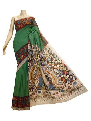 Turquoise cotton saree with Kalamkari border and pallu | Buy Online Kalamkari Sarees | Elegant Fashion Wear