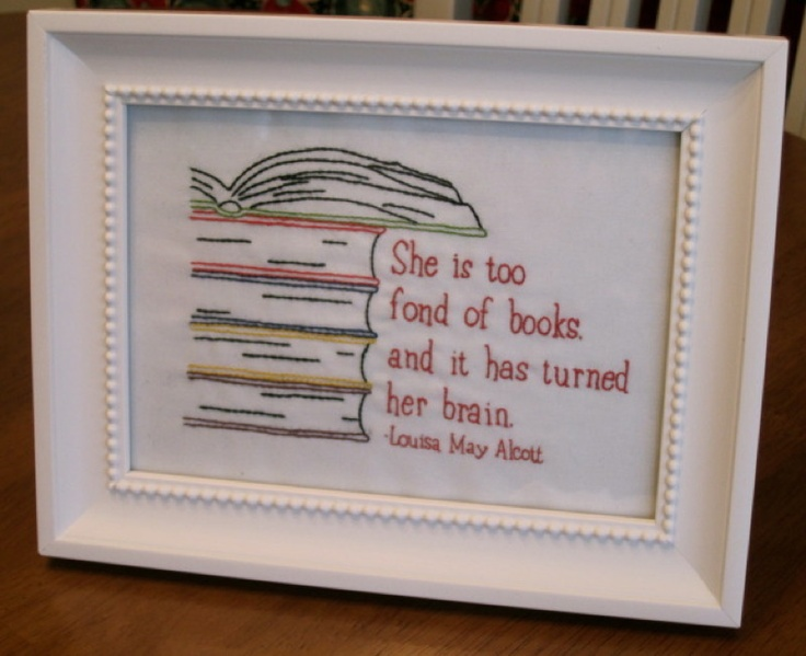 Gorgeous embroidery for a book lover!