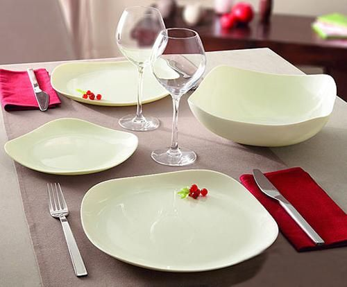 milky white dinnerware set, square dishes