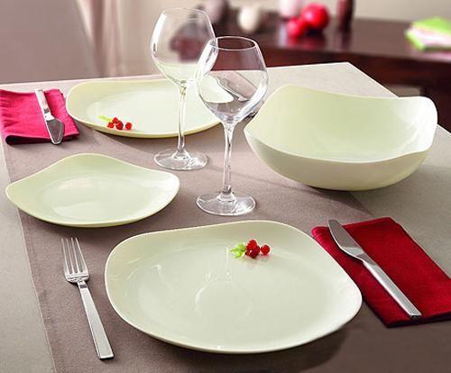 milky white dinnerware set, square dishes