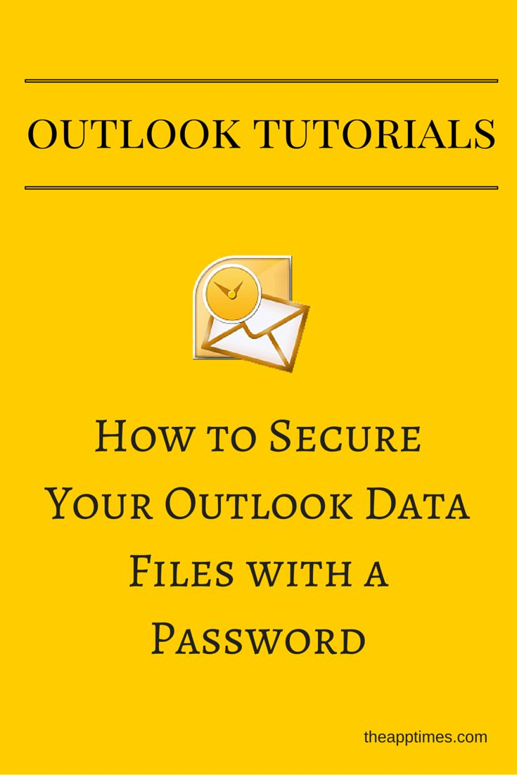 If you share your computer with other users or are concerned about Outlook mail privacy, you can secure your Outlook Data Files with a password.