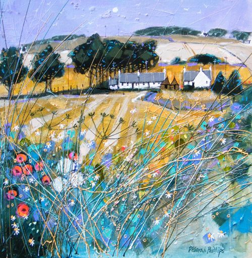 Deborah Phillips_Farmstead Fieldedge near Forfar_Hand Embellished Signed Limited Edition_15x15 l Scottish Contemporary Art