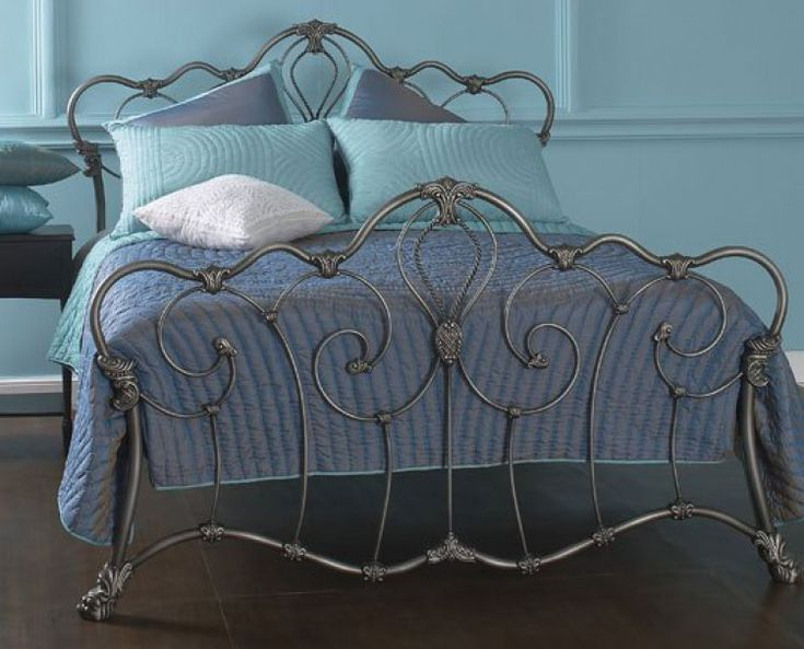 Obc Athalone 4ft 6 Double Silver Patina Metal Bed Frame By