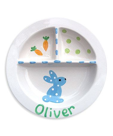 Another great find on #zulily! Blue Bunny Divided Personalized Plate #zulilyfinds