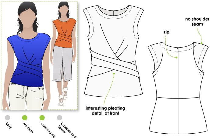 Madeleine Ponte Top Sewing Pattern By Style Arc