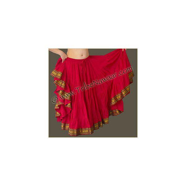 Tribe Nawaar Lotus Sari Trim Skirts ❤ liked on Polyvore featuring skirts, tribal skirts, tribal print skirt, red knee length skirt and red skirt