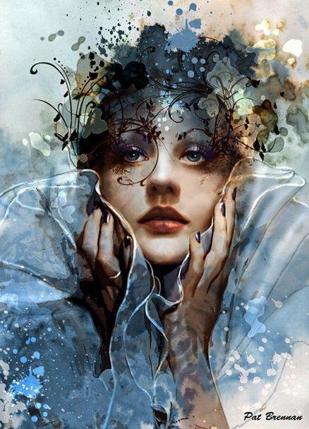 """Colour Me Beautiful"" - Pat Brennan (Corel Painter) {contemporary art #surreal fantasy beautiful female woman portrait digital painting} <3"