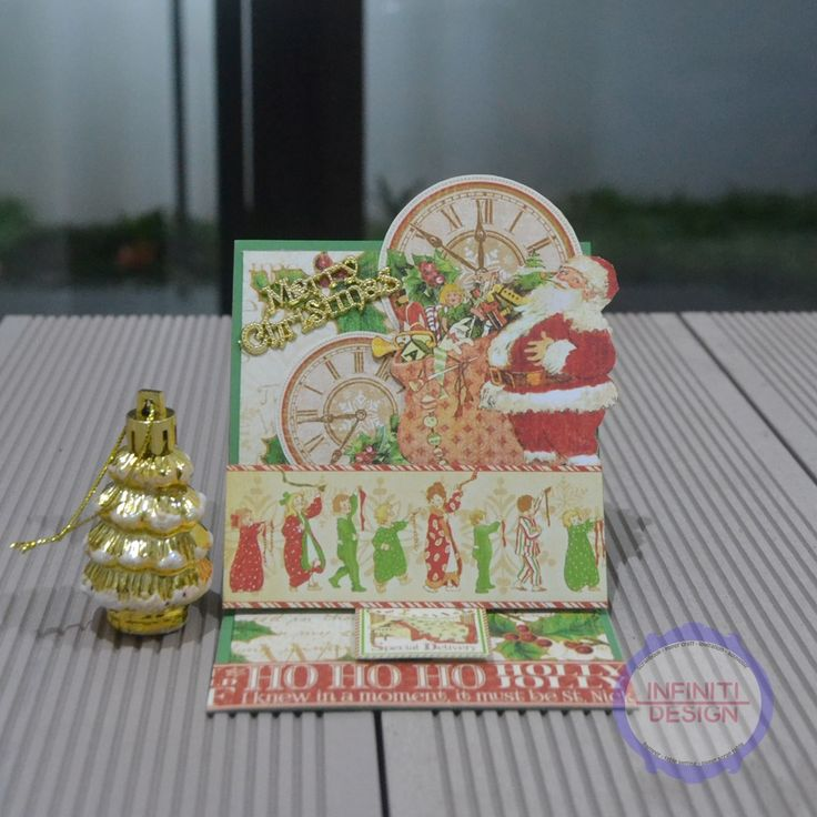 "easel card using G45 paper pad ""Twas The Night Before Christmas"""