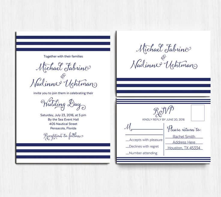 Printed Nautical Wedding Invitation SET Navy By MinimalMoon