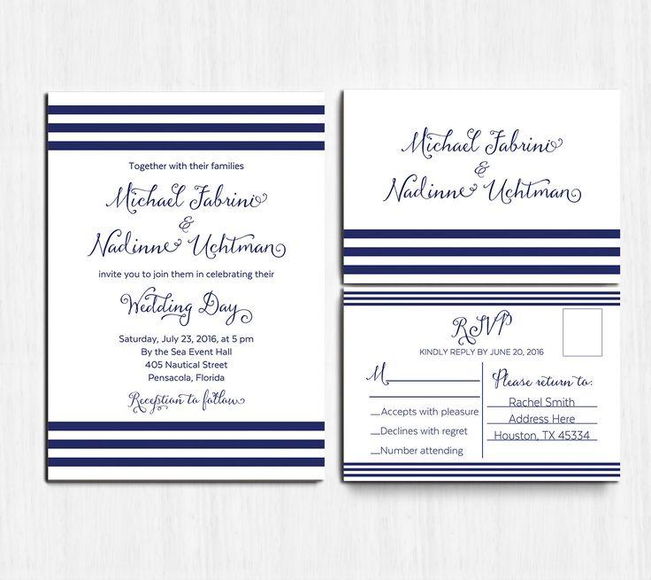 DIGITAL, Nautical Wedding Invitation SET, Navy wedding invite, printable Wedding…