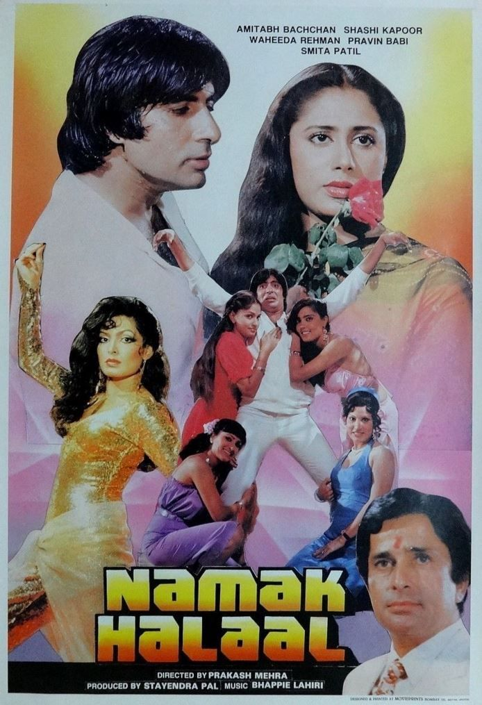 "Namak Halal (1982) French Poster! This movie staring Amitabh Bachchan, Shashi Kapoor, Smita Patil and Parveen Babi was directed by Prakash Mehra. The movie had super hit music by Bappi Lahiri with amazing songs like, ""Jawan-E- Jan-E-Man"", ""Aaj Rapat Jaayen To"" , ""Thodi Si Jo Pee Li Hai"" , ""Pag Ghungroo Baandh Meera Nachi Thi"" and ""Raat Baaqi Baat Baaqi"""