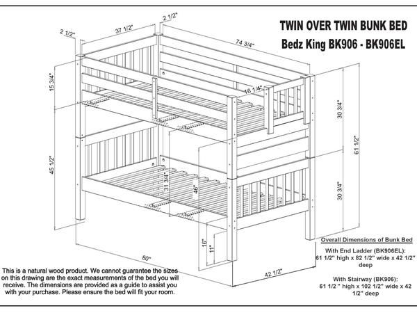 Dimensions For The Bedz King Bk 906el Twin Over Twin Bunk Bed