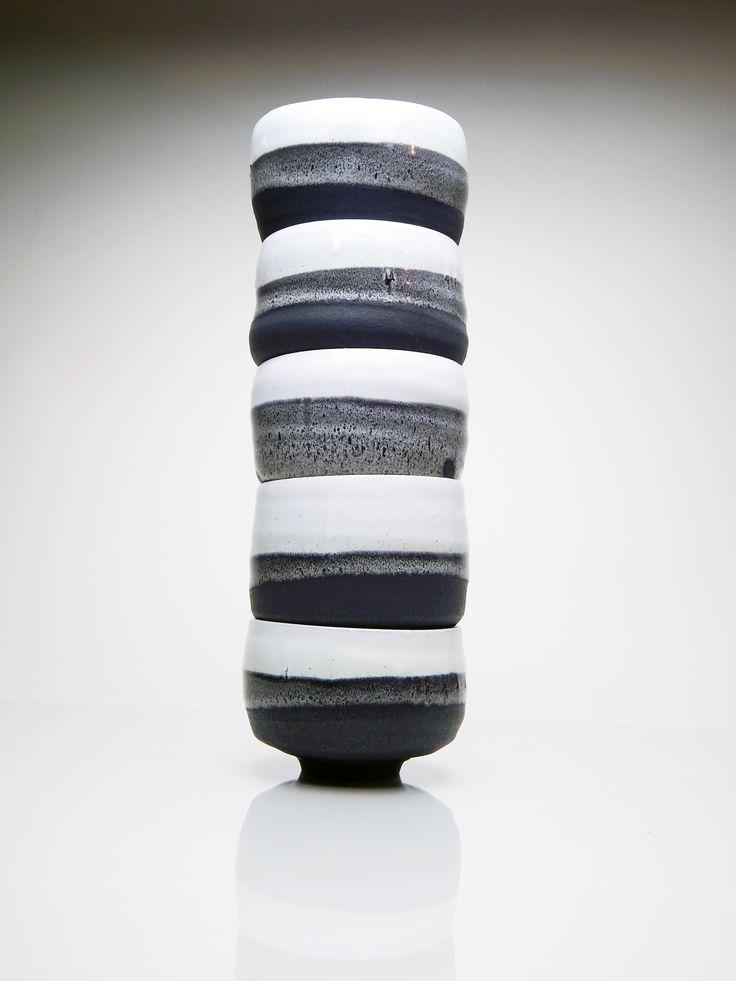 stack of beautiful tea bowls by studio YUNOMI