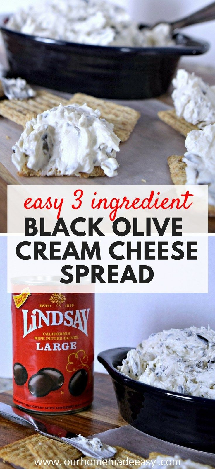 Make this easy appetizer with only 3 ingredients! Black Olive Cream Cheese Dip #sponsored
