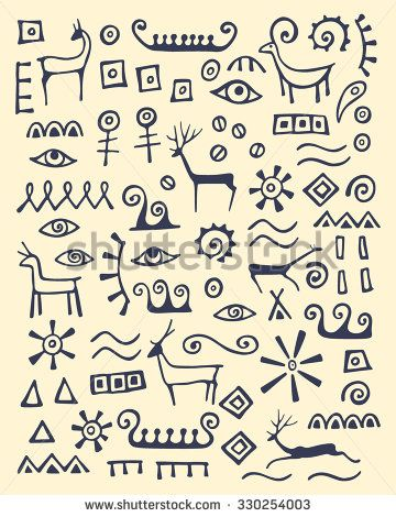 Vector illustration of hand drawn animals and abstract elements made in cave drawings style. Beautiful ink drawing.
