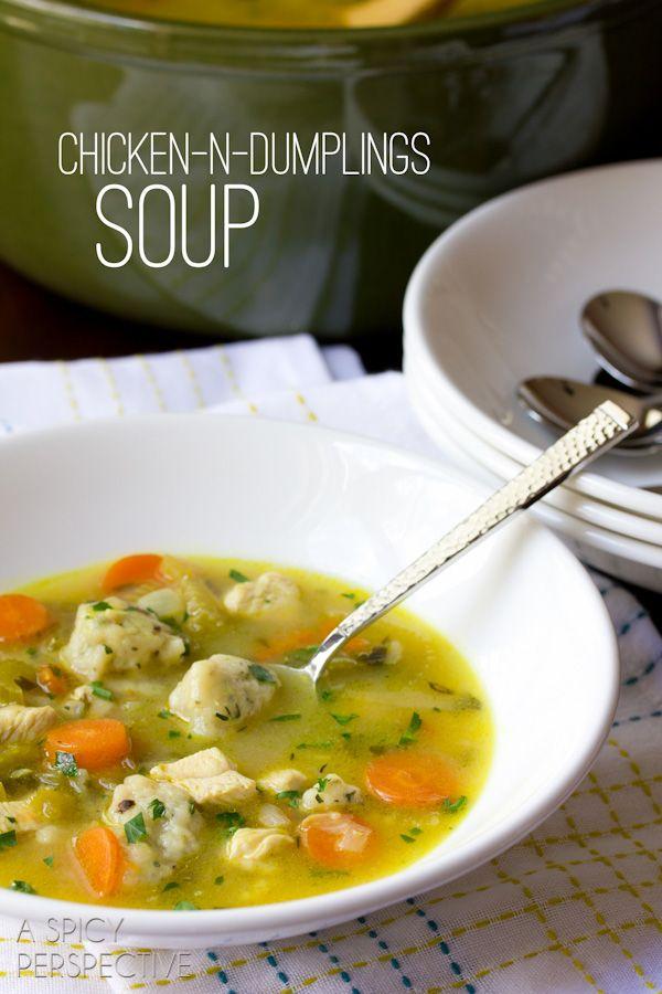Chicken N Dumplings Soup Recipe   ASpicyPerspective.com #soup #recipe #chicken