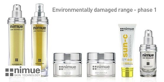 Phase 1 Environmentally Damaged Range Product 1: Cleansing Gel Environmentally Damaged Range Product 2: Conditioner Environmentally Damaged Range Product 3: Nimue Day Environmentally Damaged Range Product 4: Moisture Plus Environmentally Damaged Range Product 5: SPF40 Environmentally Damaged Range Product 6: Exfoliating Enzyme