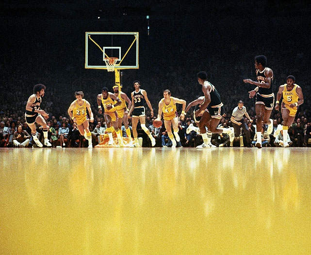 Jerry West leads the break during the 1972 Western